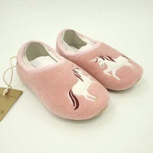 Joules Pink Unicorn Slippet Felt Mule Slippers M